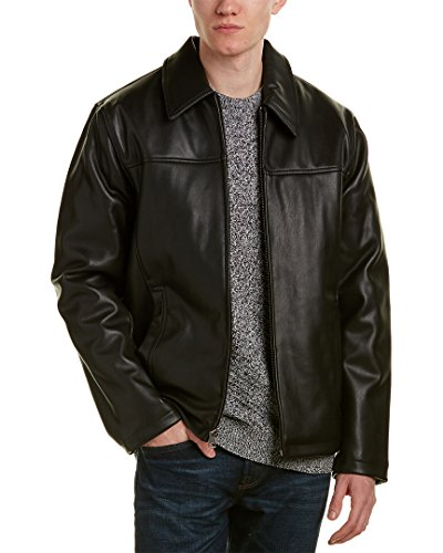 Cole Haan Signature Men's Vegan Leather Shirt Collar Jacket, Black, Medium