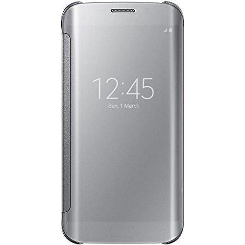 Samsung Handyhülle Schutzhülle Protective Case Cover mit Clear View Klarsicht Cover für Galaxy S6 Edge, silber