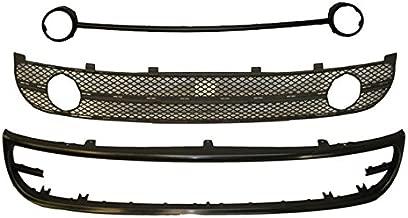 Bundle 2001-2005 New Beetle Front Bumper Lower Spoiler Grille Fog Lamp Trim 3Pcs