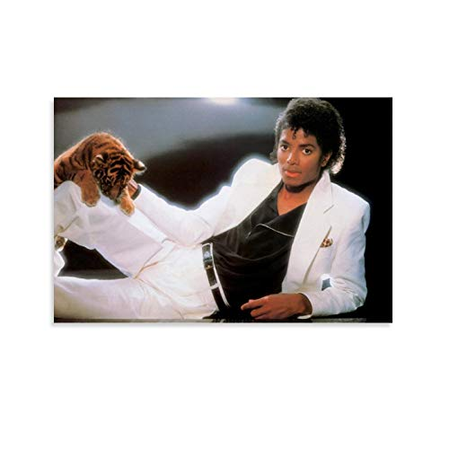 xiaoxian Michael Jackson and Tiger Poster Decorative Painting Canvas Wall Art Living Room Posters Bedroom Painting 08x12inch(20x30cm)
