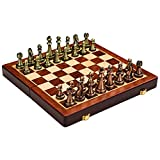 Amagogo Juego de Mesa de Madera Grande Plegable Tablero de ajedrez portátil de Viaje Hecho a Mano Gran Regalo