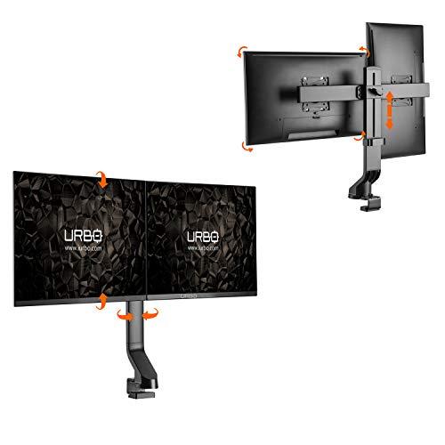 Urbo Alverna Ergonomische Flexibele Monitor Arm voor Twee Schermen. Installatie met klem of zeilring. Voor schermen tot 81 cm op kantoor of thuis. Tegen rugpijn.