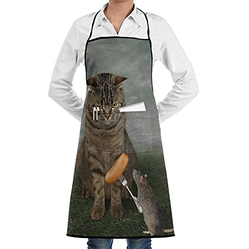 ASNIVI Kitchen Cooking Aprons for Women & man,Waterproof Apron The Rat Is Feeding The Big Cat. It Is Holding A Fork With A Sausage ?Aprons for Home Kitchen, Restaurant Cooking, Coffee House Using