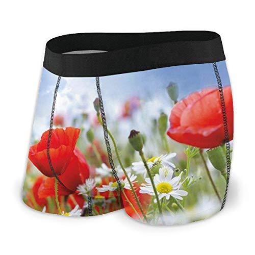 Calzoncillos Boxer para Hombre, idílico Prado de Primavera con Flores de Amapola y Margarita Cielo Soleado Nubes Jardín Tamaño XL