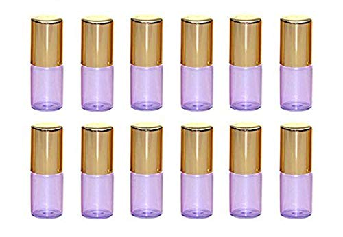 VASANA 12PCS 3ml Empty Purple Glass Roll on Bottles Refillable Essential Oil Perfume Rollerball Bottles Small Containers Vials with Steel Ball and Gold Cover for Perfume Oil Essential Oil Lip Balm