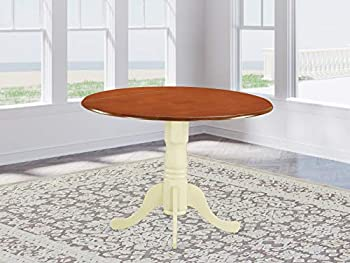 East West Furniture DLT-BMK-TP Dublin Table-Cherry Table Top Surface and Buttermilk Finish Pedestal Legs Hardwood Frame Round Kitchen Table