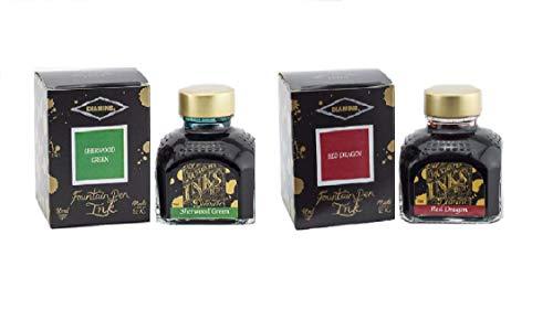 Diamine - 80ml Fountain Pen Ink 2 Pack - Sherwood Green & Red Dragon