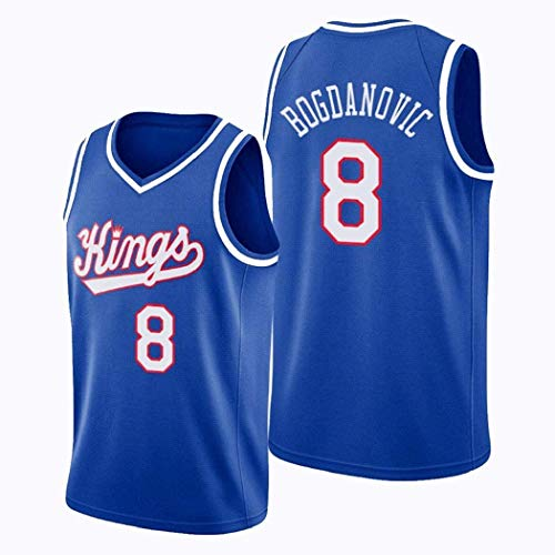 JAG Maglia da Basket Bogdan Bogdanovic 8#, Uniforme da Basket Sacramento Kings Edition da Uomo, Abiti da Allenamento Senza Maniche Swingman NBA, Misura Intera