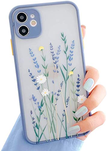 Ownest Compatible with iPhone 11 Case for Clear Flowers Pattern Frosted PC Back 3D Floral Girls Woman and Soft TPU Bumper Protective Silicone Slim Shockproof Case for iPhone 11-Purple