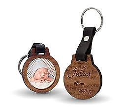 CHRISCK design Schlüsselanhänger Vatertagsgeschenk mit Fotodruck und Gravur / Echtes Holz und absolut kratzfestes Foto / schöne Geschenkidee Geschenk zum Vatertag mit Bild