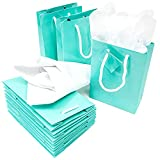 Teal Paper Party Favor Gift Bags with Tissue Paper (7.9 x 5.5 x 2.5 in, 20 Pack)