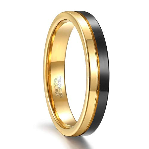 Greenpod 4mm Thin Tungsten Wedding Band for Men Women Two Tone Gold Black Centre Groove Engagement Ring Size 7
