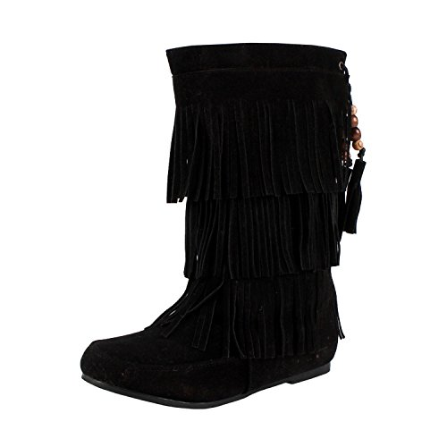 Dev Children's Girl Limma Moccasin 3-Layer Fringe Beaded Tribal Indian Winter Faux Suede Boot Shoes…