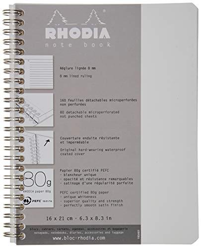 Rhodia 193461C Notizbuch (mit Doppelspirale, liniert, mikroperforiert, DIN A5+ 160 x 210 mm, 80 g, 80 Blatt) 1 Stück weiß
