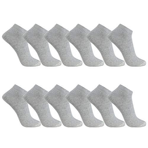 FALARY Sneaker Socken Herren Damen 12 Paar Kurze Halbsocken Baumwolle-Grau-39-42