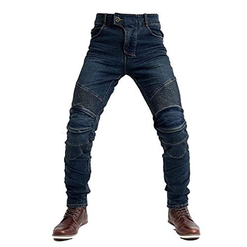 GDZHL Hombres Motocicleta Pantalones con Protectores Extraíbles, Pantalones de Ciclismo Elásticos Anticaídas, Cinturón Táctico de Cuero (Azul-B,XL)
