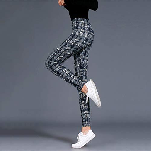 AOZLOVEC Leggings de mujer con estampado de ejercicio, Leggins de fitness elásticos a cuadros, Legging Push Up, pantalones femeninos de talla grande, talla única, BlueGrid