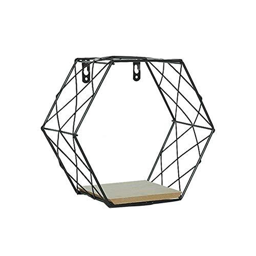 TOMMY LAMBERT Estante de almacenamiento hexagonal moderno y sencillo estilo nórdico de hierro forjado para montar en la pared del hogar, sala de estar, dormitorio, cocina, ahorro de espacio