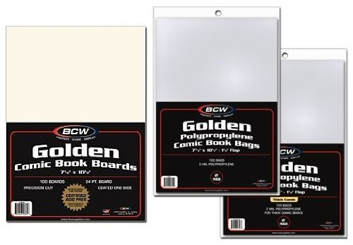 Golden Age Comic Book Backer Boards and Bags 100 Count by BCW