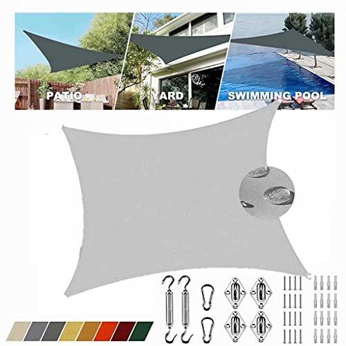 Toldo impermeable gris claro, rectangular, 5 x 6 m, protección UV, 95 % impermeable, toldo de playa, toldo a medida con kit de fijación para toldo