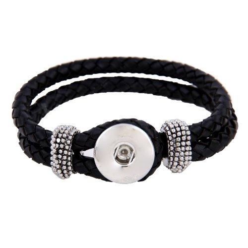 Morella Damen Click-Button Armband Leder geflochten schwarz