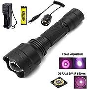 BESTSUN Infrarot Taschenlampe 850nm für Jagd, IR Taschenlampe mit 38mm Konvexlinse, Fokus einstellbar, zur Verwendung mit Jagd und Nachtsichtgeräten