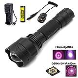 Linterna infrarroja 850nm para caza, linterna LED infrarroja Zoom con lente de 38 mm, batería y presostato --- para usar con el dispositivo de caza y visión nocturna