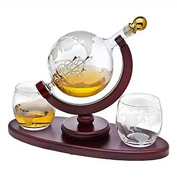 Whiskey Decanter Globe Set with 2 Etched Globe Whisky Glasses - for Liquor Scotch Bourbon Vodka - 850ml