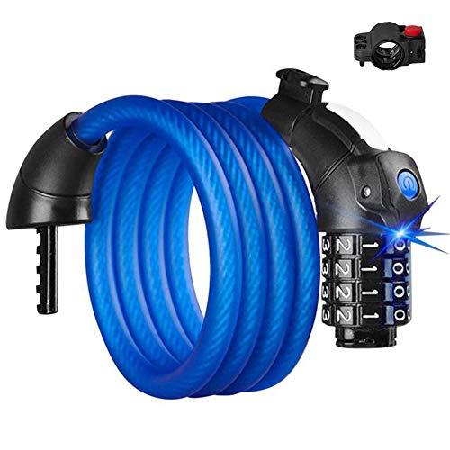 Bike Lock Combination 4 Digit Bike Chain Lock Bike Accessories Motorbike Lock Cycling Accessories For Men blue,1.8m