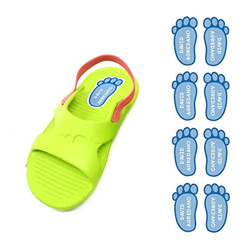 Etiquetas para zapatos personalizadas. 8 Pares de adhesivos con forma de pie de 21 x 37'5 mm. Modelo: 1. Celeste