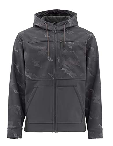 Simms Rogue Fleece Hoody, Water Resistant Sweatshirt, Hex Camo Carbon, Large