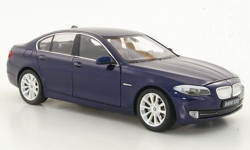 BMW 535i (F10), metálico-azul oscuro, Modelo de Auto, modello completo, Welly 1:24
