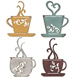 CraftyCrocodile Metal Coffee Cup Wall, Kitchen Restaurant Coffee Shop Decor! Set of 4