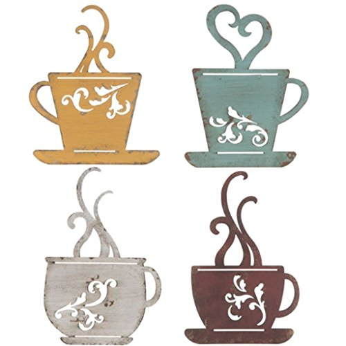 Collection Metal Coffee Cup Wall, Kitchen Restaurant Coffee Shop Decor! Set of 4
