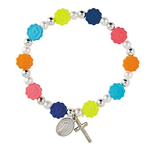 Colorful Flower Prayer Bead Rosary Bracelet with Crucifix and Miraculous Medal Charms, 7 1/2 inch
