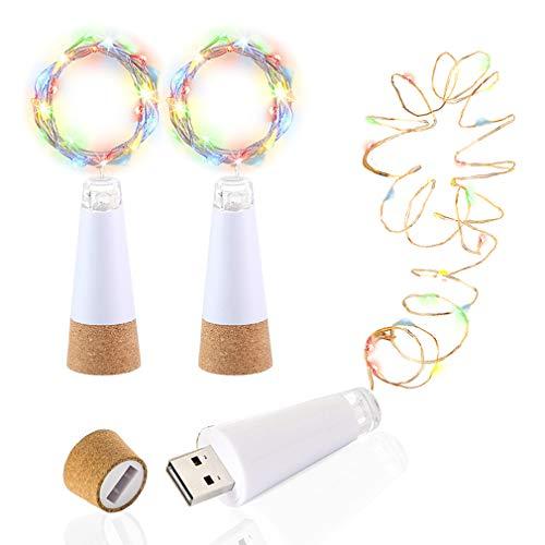 LED Bottle Lights Cork, Multicolor Change Flicker, USB Powered Rechargeable, Wine Bottle Lights, 4.6ft 15 LED, Copper Wire String Starry LED Lights for Room, Wedding, Christmas, Party Decor