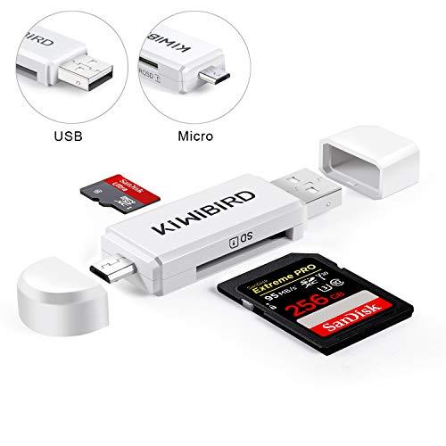KiWiBiRD Micro USB Adaptador USB 2.0 OTG, Micro USB & USB 2.0 SD/Lectores de Tarjetas Micro SD para Smartphones Android/Tablet con Función OTG, PC, MacBook y Smart TV - Blanco