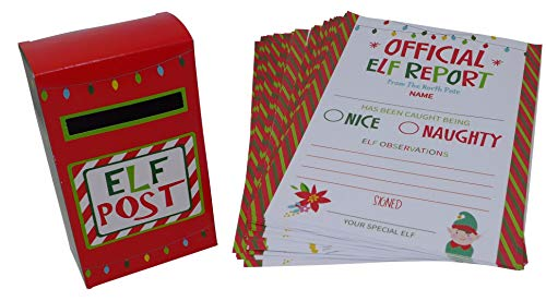 Elf Reports And Post Box Stationary Set Includes Post Mailbox and 25 Count of Elf Report Letters | Holiday Gifting Ideas for Kids, Xmas Party Decoration