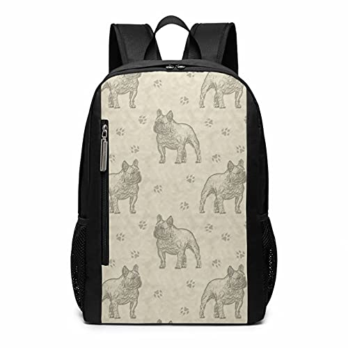 Cute Funny French Bulldog Dog Fawn Painting Art Stylish Large Backpack College Adjustable Office Climbing Yoga Beach For Men Women