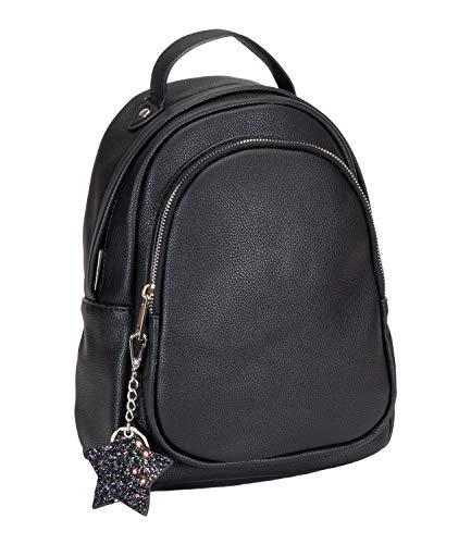SIX Eleganter schwarzer Mini-Rucksack mit funkelndem Sternanhänger (726-983)
