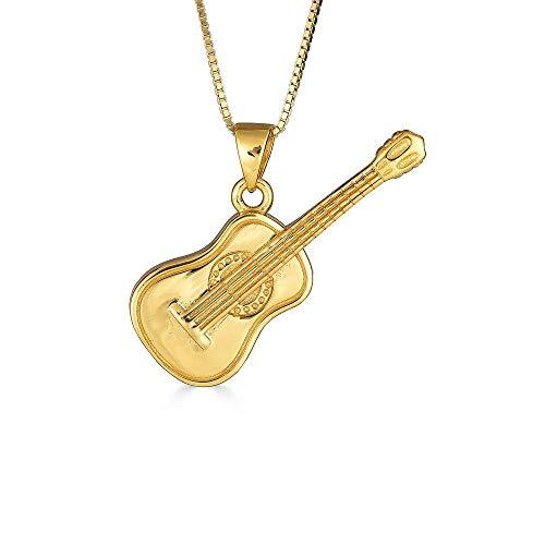 Kleine Schätze Sterling Silber Gelbes Gold überzogen Akustische Gitarre Musik Anhänger Halskette (Verfügbare Kettenlänge 40cm - 45cm - 50cm - 55cm)