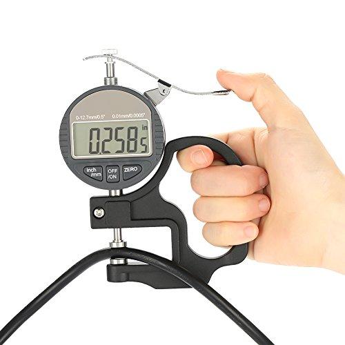Medidor de grosor digital Calibrador de grosor Micrómetro electrónico Medidor de grosor 0-12,7 mm Pulgada métrica con herramienta de medición precisa con pantalla LCD