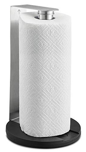 SILBERTHAL Küchenrollenhalter stehend oder zur Wandmontage – Edelstahl – Standfest mit Gummifüßen - Halter für Küchenrollen 26x16cm