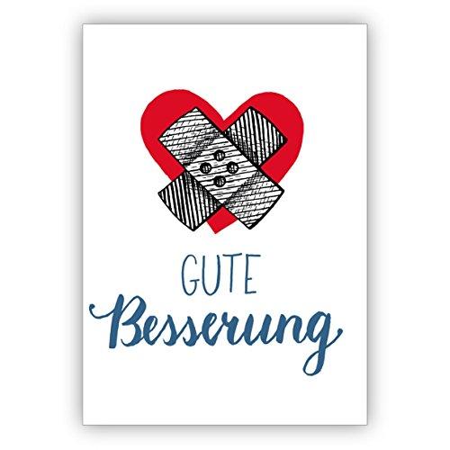 1 Moderne, liebevolle Genesungskarte mit Herz und Pflaster für Familie, Freunde und Kollegen: Gute Besserung • individuelle Grusskarte mit Umschlag, hochwertige Qualität