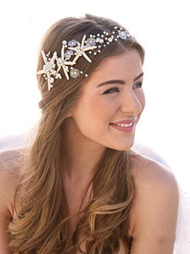 Simsly FS-240 Haarreifen für die Braut, mit Seestern, Silberfarben, für Damen und Mädchen