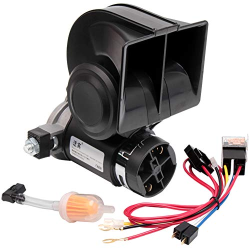 FARBIN Air Horn with Compressor,Compact Electric trumpets,Car Horn 12V 150db Super Loud Nautilus,with Wiring Harness,for Any 12V Vehicles(12V, black)