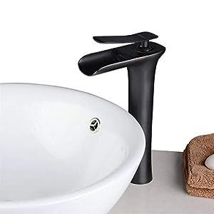 Beelee BL9009BH Grifo antiguo de una sola manija de la cascada Grifo grande del fregadero del cuarto de baño, Negro…