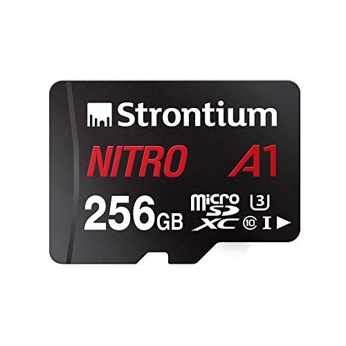 Strontium Nitro A1 256GB Micro SDXC Memory Card 100MB/s A1 UHS-I U3 Class 10 with High Speed Adapter for Smartphones Tablets Drones Action Cams (SRN256GTFU3A1A)