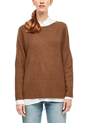 s.Oliver RED Label Damen Flauschiger Strukturmix-Pullover Brown 38
