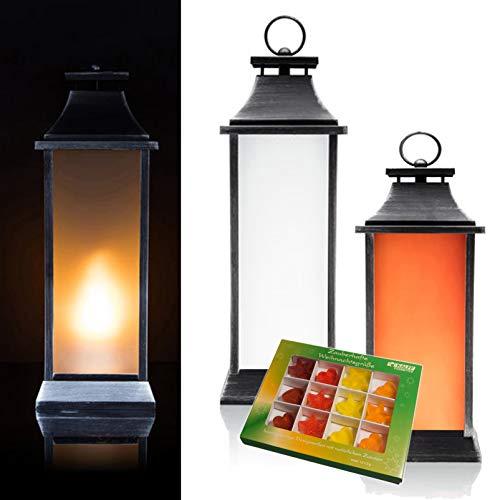 DbKW (Orange, 40) Outdoor Laterne mit LED-Flammen Beleuchtung + 12tlg. Kalff Design-Seifen Set, Timer, 40/50 cm Höhe. Flammeneffekt LED Kerze